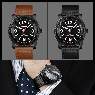 SKMEI Mens Waterproof Leather Stainless Steel Analog Quartz Business Wrist Watch