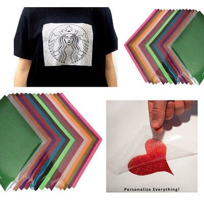 15 Sheets Glitter Heat Transfer Vinyl HTV Bundle for T-Shirts 10 x 12 inches