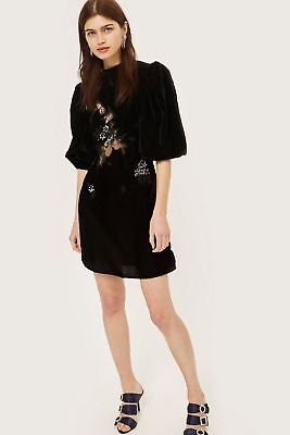 4a7633889ed6 New Sold Out Topshop Black Velvet Cutwork Lace Panel Dress w Balloon Sleeve  2