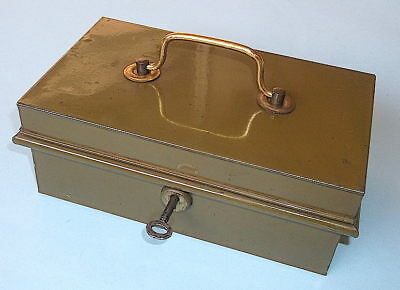 """Vintage Metal """"Army"""" Green Cash Box With Brass Handle & Key"""