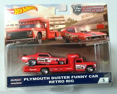 Hot Wheels Team Transport Plymouth Duster Funny Car Snake & Mongoose Real Riders