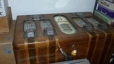 Mills Four Bell Console Slot Machine Circa 1940's Complete Lights Up ALL Nickels