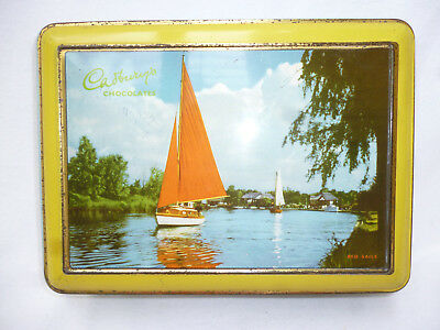VINTAGE 1950s CADBURY'S 2 pound CHOCOLATE TIN - Red Sails - good condition