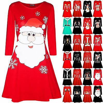 Womens Christmas Santa Costume Hat Dancing Reindeer Xmas Ladies Swing Mini Dress