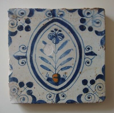 "17th Century DUTCH DELFT TILE ""FLOWER IN OVAL FRAME"" POLYCHROME"