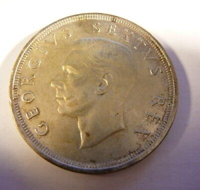 1952 South Africa 5 Shilling George VI silver coin