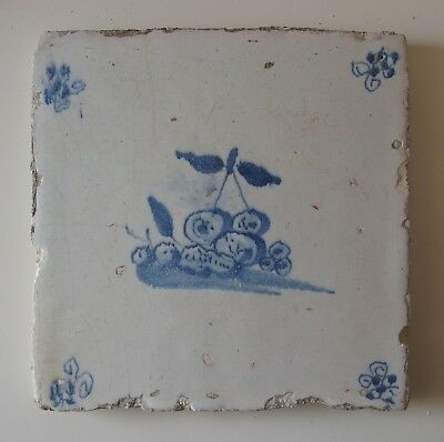 "17th Century DUTCH DELFT TILE ""STILL LIFE WITH FRUIT"""