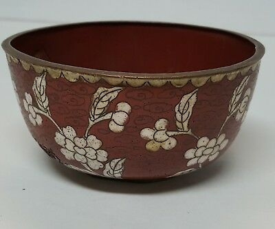Chinese Antique Copper Red Ground Exhuberent Cloisonne Dogwood Floral Bowl