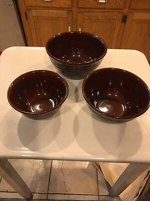 Marcrest Stoneware Daisy Dot Nesting Bowls Brown Mixing Oven Proof Vintage 3 pc