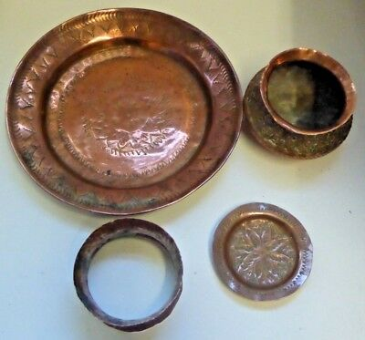 Antique Vintage Eastern Copper Plate Dish Bangle and Bowl