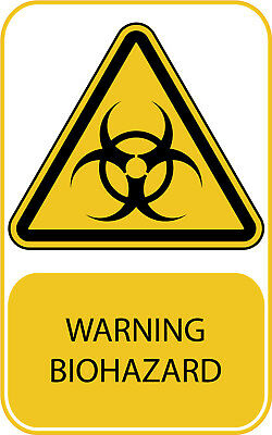 Biohazard Work Place Warning Sticker Signs Safety Yellow Danger A7 A6 A5 A4 A3