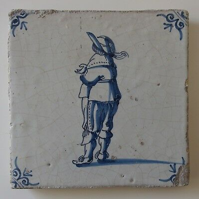 "17th Century DUTCH DELFT TILE ""MERCHANT"""