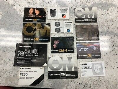 Lot of OLYMPUS OM-4 vintage owners manuals for 35 mm camera - Good Condition