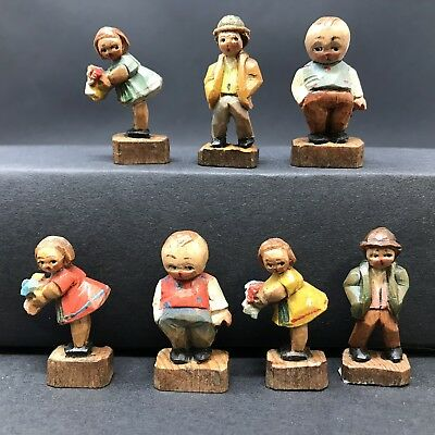 Antique lot of wood figures ITALY children hand carved ANRI miniatures