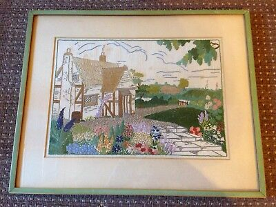 Vintage Tapestry Wool Work Needlepoint Art Deco Framed Panel Clarice Cliff style