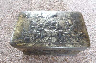 Vintage Embossed Brass Gilt Tin Decorated With Old Inn Scenes