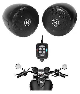 "Rockville Motorcycle Bluetooth Audio System 3"" Handlebar Speakers For Honda CB50"