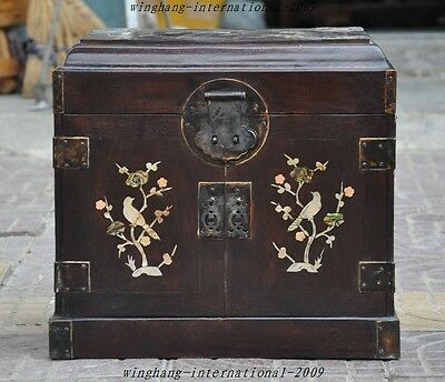 "16"" Huge Old Chinese Rosewood Inlay Shell Bird Statue Jewelry box drawer cabinet"