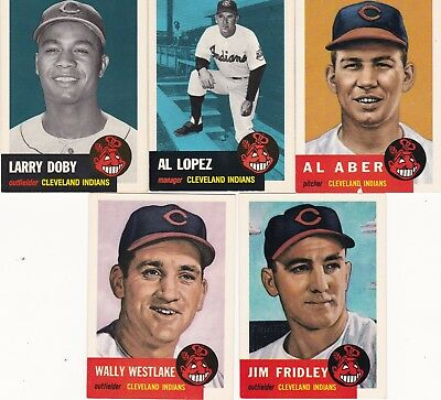 1953 Topps 1991 Archives Cleveland Indians (lot of 5) ALL DIFFERENT New Cond