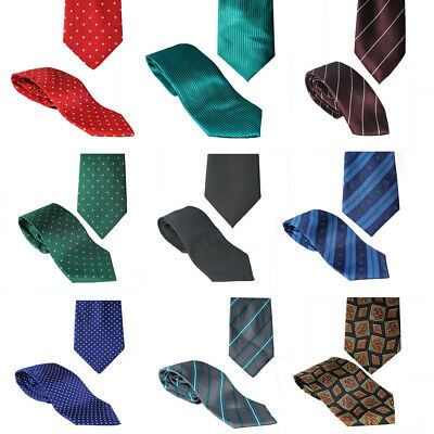Tie Necktie Mens Silk Solid Plain Stripes Dots Party Wedding School New