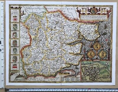 "Old Antique Tudor map of Essex, England: John Speed 1600's 15"" x 11"" (Reprint)"