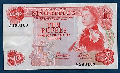 Mauritius Banknote 10 Rupees 1967  VF+
