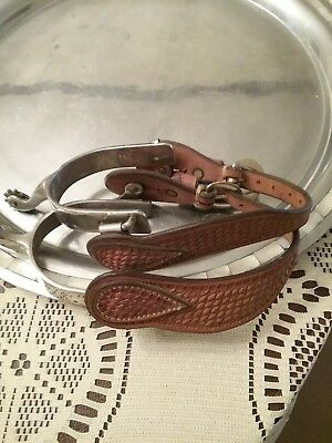 Western  Cowboy Spurs With Leather Buckle Straps , one Pair