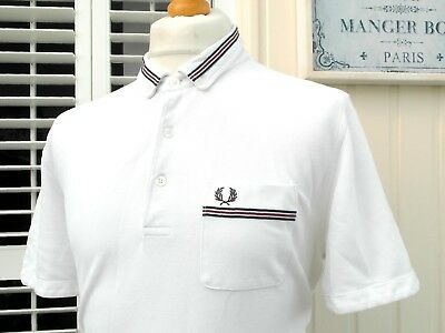Fred Perry White Tape Trim Slim Fit Polo - XXL - Ska Mod Scooter Casuals Skins