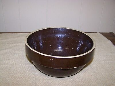 "Vintage 8"" Brown Stoneware Shouldered Mixing Bowl- Unsigned"