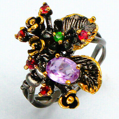 Sweet Flower! Natural Amethyst 7x5 mm. 925 Sterling Silver Ring / RVS90