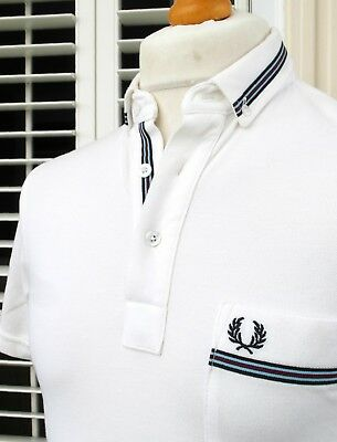 Fred Perry White Tape Trim Slim Fit Polo - S - Mod Ska Scooter Casuals Skins