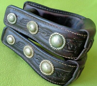 FANCY Vintage TOOLED Leather & Silver CONCHO Western Show Saddle STIRRIPS~NO RES