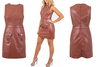 Ladies Womens Fashionable Pocketed Faux Leather Mini Bodycon Dress 6-12