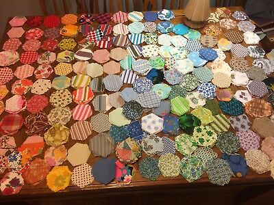 1000's vintage fabric Hexagons loose quilt squares Solids Patters Feedsack
