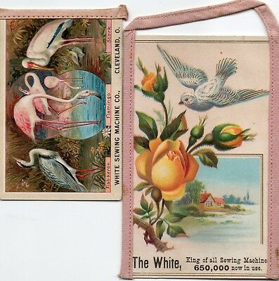2 White Sewing machine Trade cards With Sewn On Strips