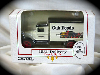"1931 Delivery Truck-Cub Foods ""bank""-Ertl Series Die Cast Bank #9042 New In Box!"