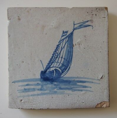 "17th Century DUTCH DELFT TILE ""SHIP WITH ENSIGN AND FLAG"""