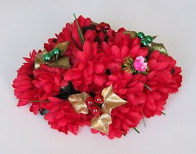 19 Artificial Flowers (Christmas Floral Decoration, Fabric Chrysanthemums) USED