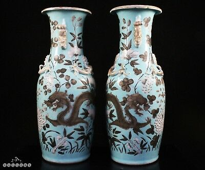 Pair Chinese 19th Century Dowager Empress Porcelain Dragon Vases c.1880