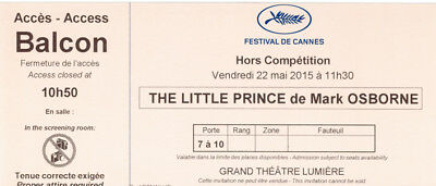 Ticket billet collector Le Petit Prince de/by Mark OSBORNE Cannes Film Festival