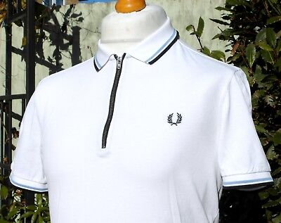 Fred Perry White Twin Tipped Zip-Neck Pique Polo - M - Ska Mod Scooter Casuals