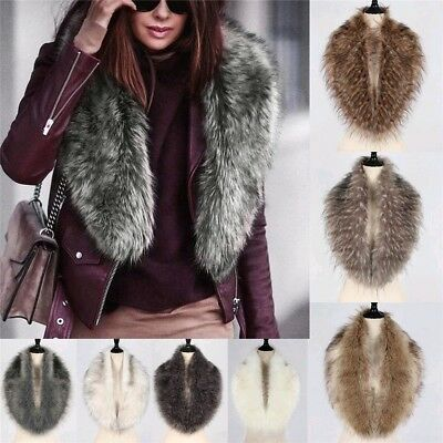 Elegant Ladies Faux Fox Fur Collar Scarf Shawl Collar Women's Wrap Stole Scarves