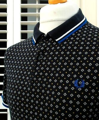 Fred Perry X Drake's Medallion Print Polo - L - Mod Ska Scooter Casuals Skins