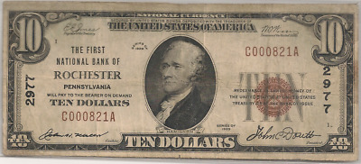 The First National Bank , Rochester, PA 1929 T/1 $5  Charter 2977