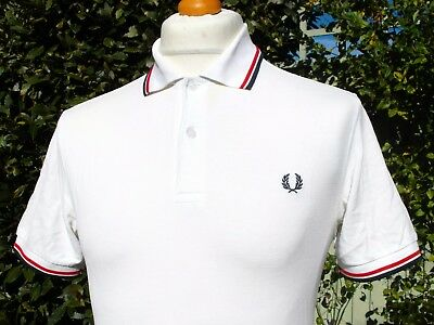 """Fred Perry M1200 White/Red/Navy Polo - S/M - 38"""" - Ska Mod Scooter Casuals Skins"""