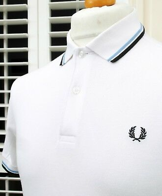 """M1200 Fred Perry White/Sky/Navy Polo - S/M - 38"""" - Ska Mod Scooter Casuals Skins"""