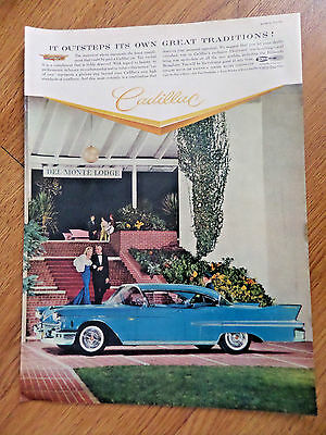1958 Cadillac Ad  Fleetwood  in front of the Del Monte Lodge