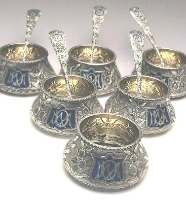 Hand Chased Salt Cellars w/Spoons, Repousse Style, Sterling Silver, Whiting Co.