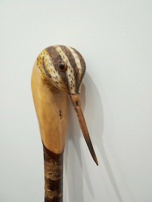 Snipe carved by hand in lime on hazel shank, walking,hiking,shooting stick