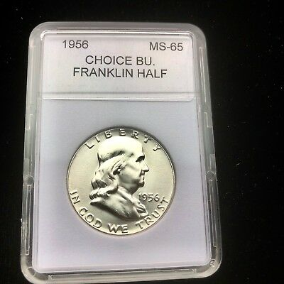 """1956-P Choice BU.Franklin Half Dollar With """"Mint Luster""""And Holder"""